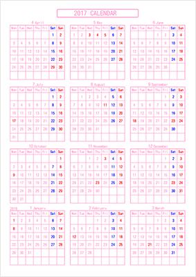 オリジナルカレンダー作成