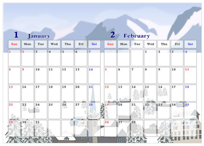 北欧の街並みイラストカレンダー