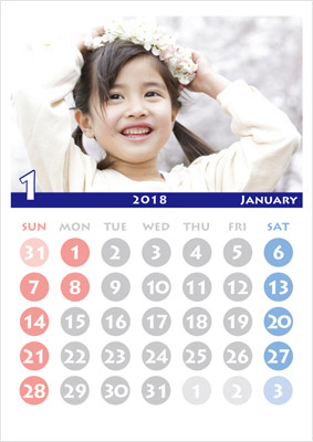 A3カレンダーも写真を入れるタイプの他、文字のみのシンプルタイプがあります。