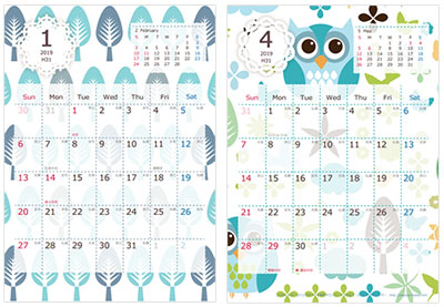 カンタン印刷 北欧スタイルカレンダー2019