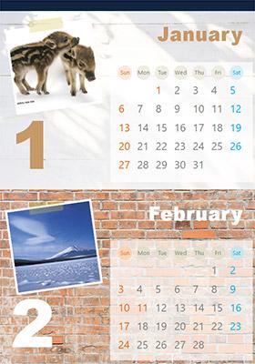 ナチュラルなウォール デザインのカレンダー