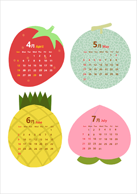 フルーツイラスト カレンダー1